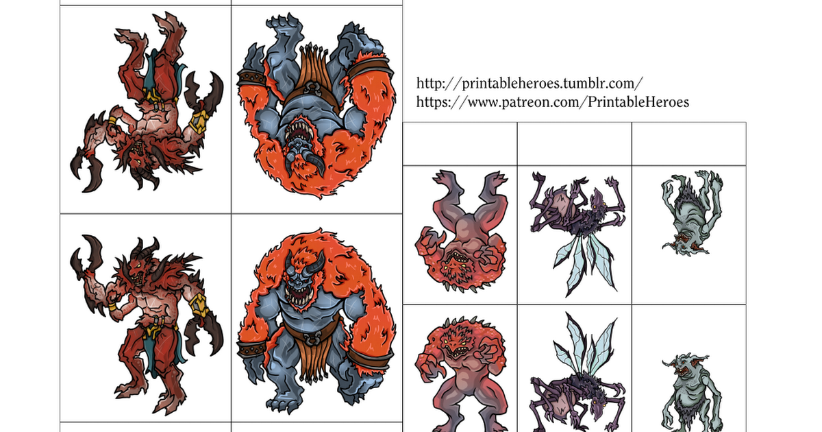 picture regarding Printable Heroes Pdf called PrintableHeroes_Demon_fastened01.pdf Totally free Paper Miniature Sets