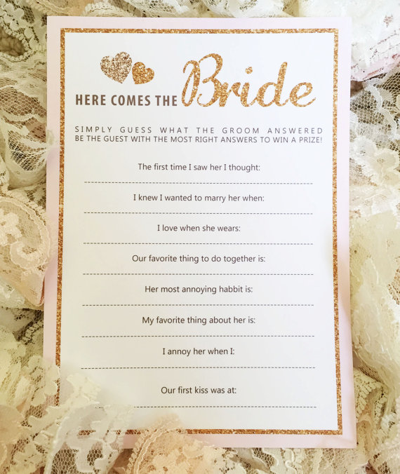 a perfect way to add a little fun to a bridal shower you are hosting how to play host will ask the groom these questions before the shower and