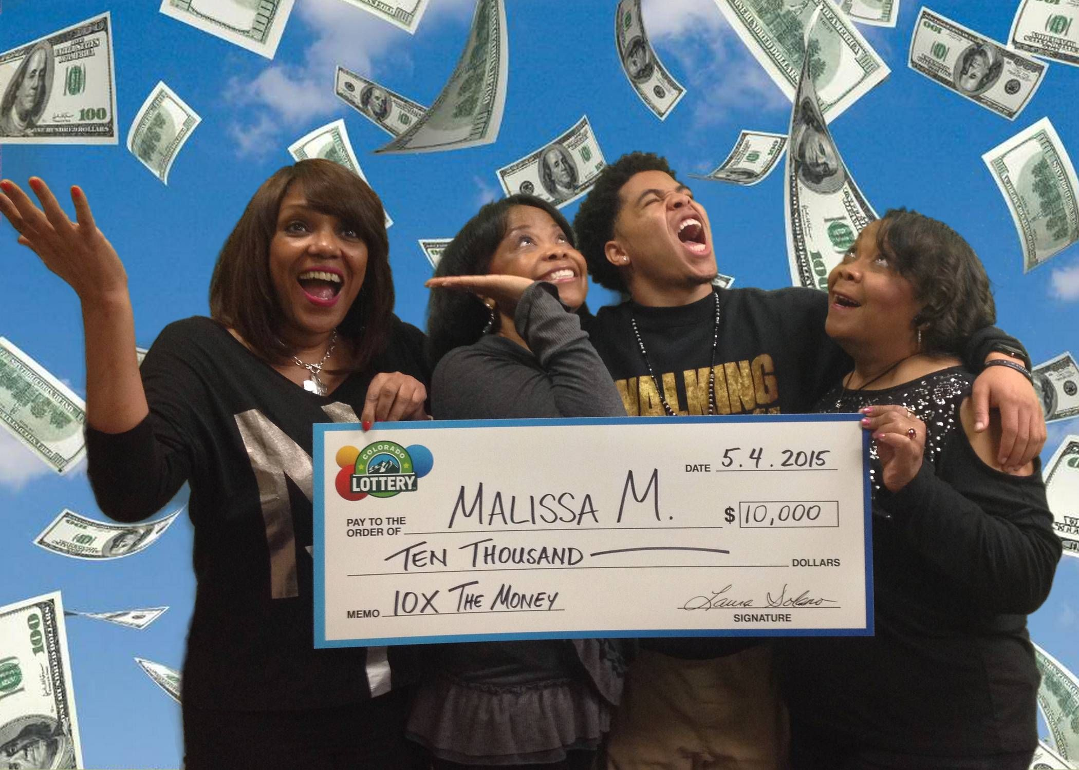 The whole gang showed up to help Malissa M. from Aurora claim her $10,000 Top Prize for 10X The Money!  This game has 100 Top Prizes.