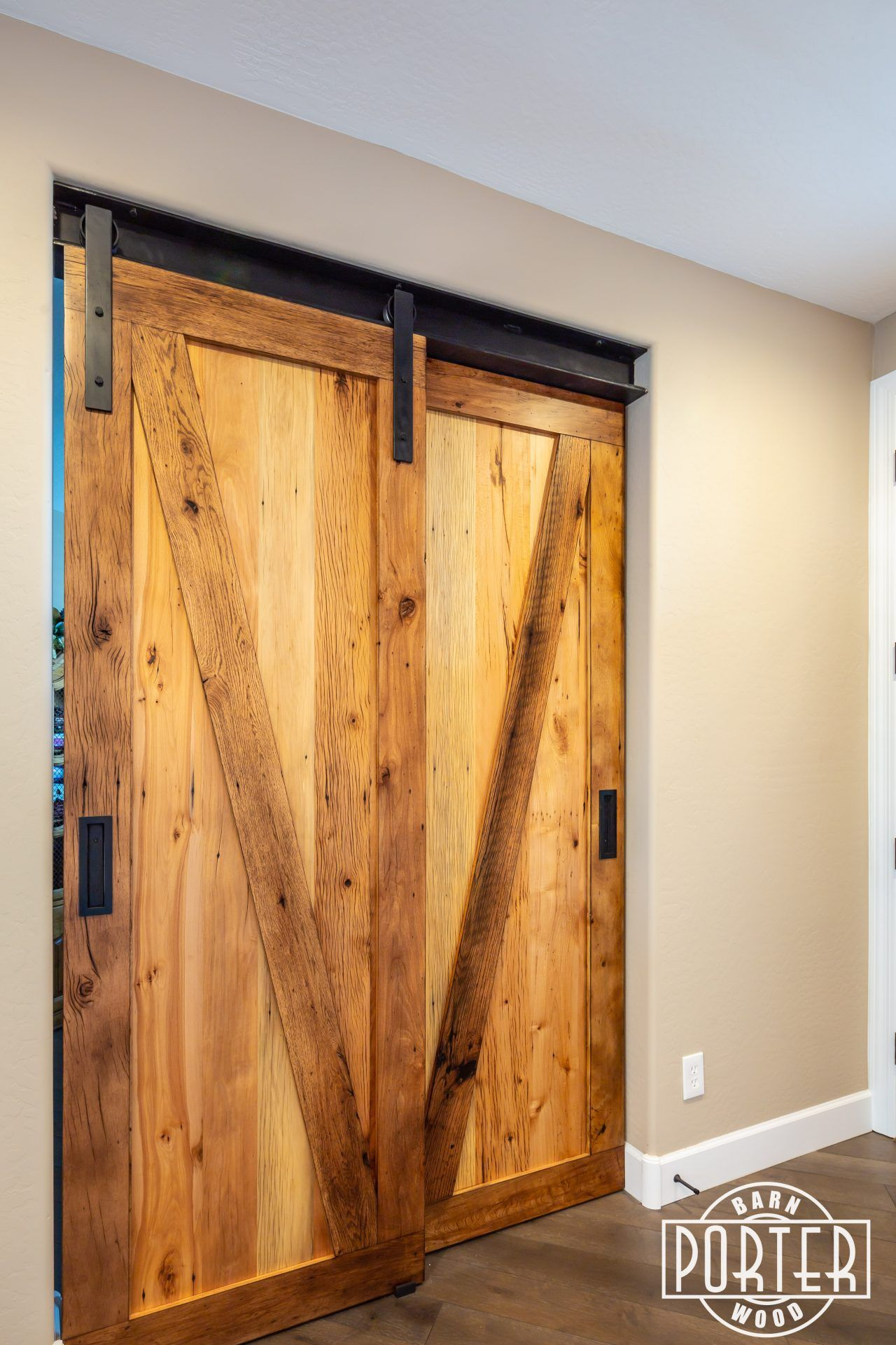 I Beam Bypass Sliding Doors Porter Barn Wood Barn Door Decor Sliding Doors Beams
