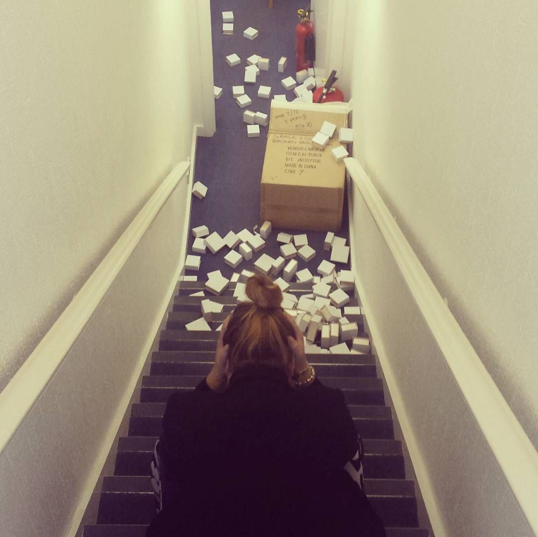 When Jayne drops a box full of necklace boxes down the stairs... #whoops - Shop now > http://ift.tt/1Ja6lvu