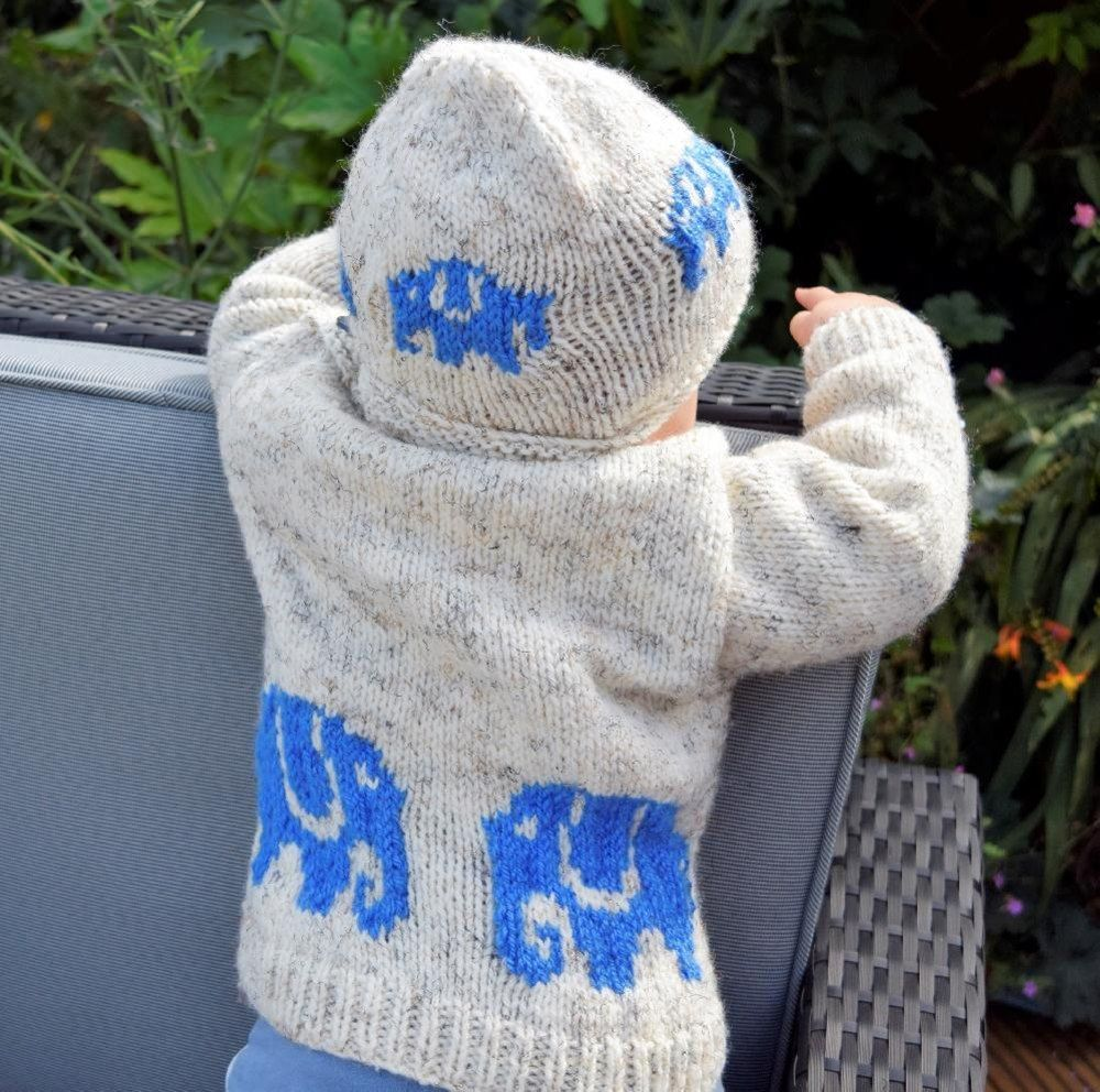 Aran Baby Elephant Sweater and Hat Knitting pattern by ...