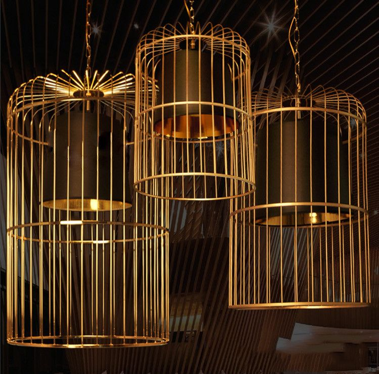 Bird Cage With Black Shade Pendant Light Cage Pendant Light