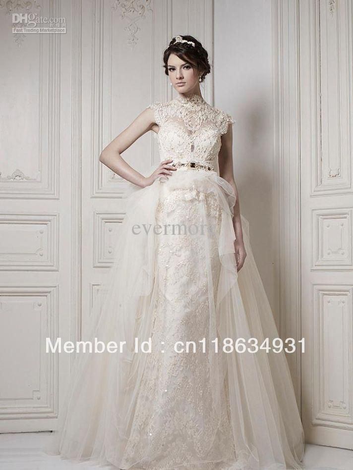 Best Selling High Collar Lace Tulle Train Floor-length Sash Vintage Bridal Gown 2013 Wedding Dresses