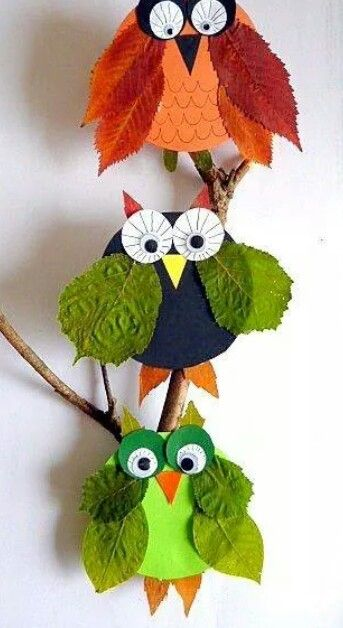 Owls made with leaf wings