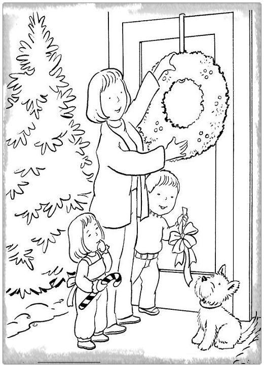Resultado De Imagen Para Dibujo Para Colorear De Navidad En Familia Paginas Para Colorear De Navidad Imagenes Para Colorear Ninos Libro De Colores