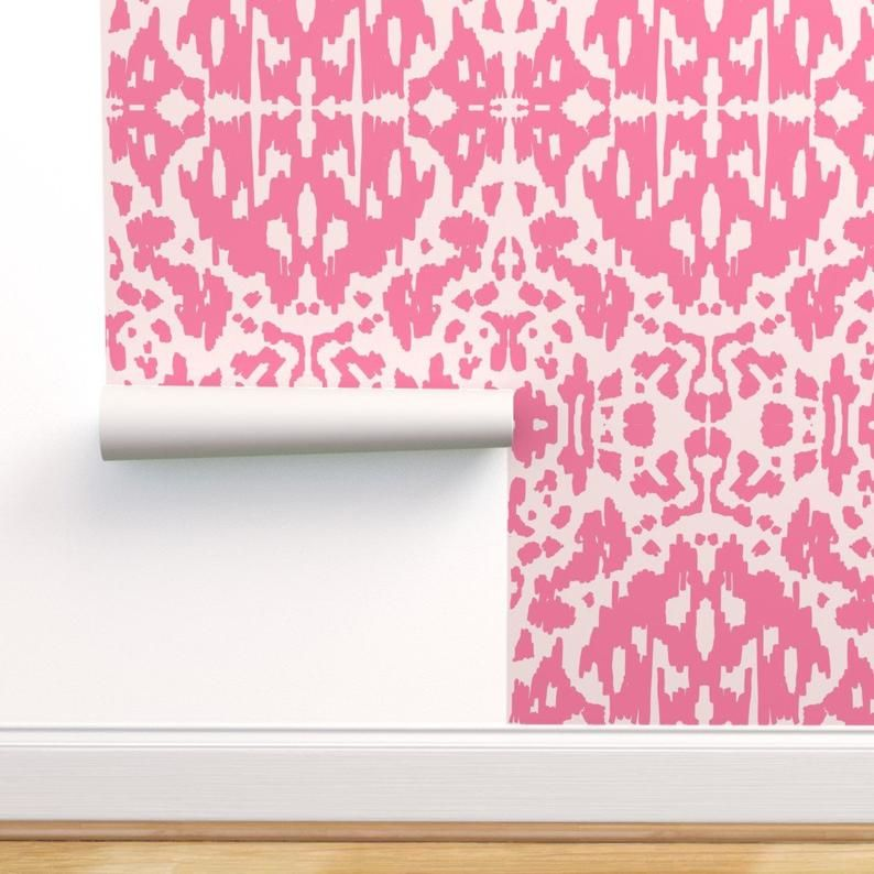 Pink Ikat Wallpaper Cow Ikat Hot Pink By Bruxamagica Etsy In 2020 Self Adhesive Wallpaper Peel And Stick Wallpaper Spoonflower