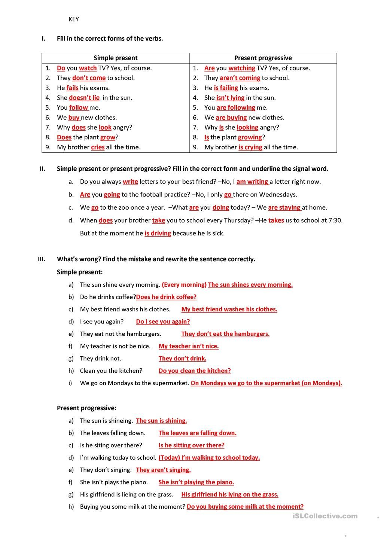 Worksheets Present Progressive Worksheets simple present progressive overview and exercises exercises