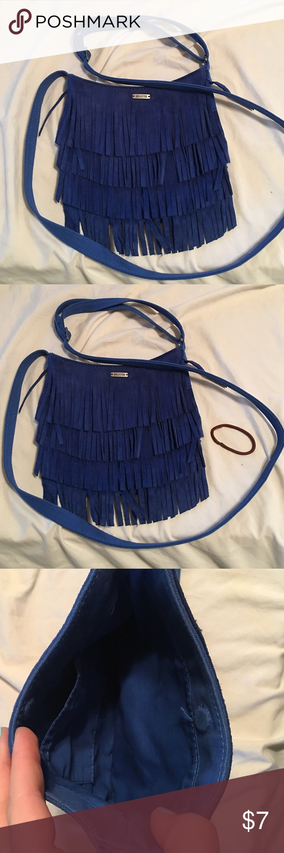 Blue fringe hollister crossbody bag Never used, SO CUTE 💙💙 Hollister Bags Crossbody Bags