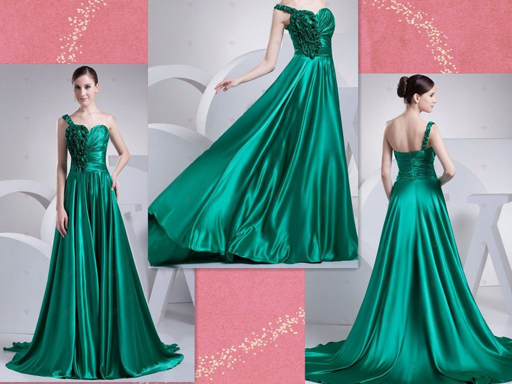 A-line One-shoulder Sweetheart-neck Chapel Train Elastic Satin Evening Dresses