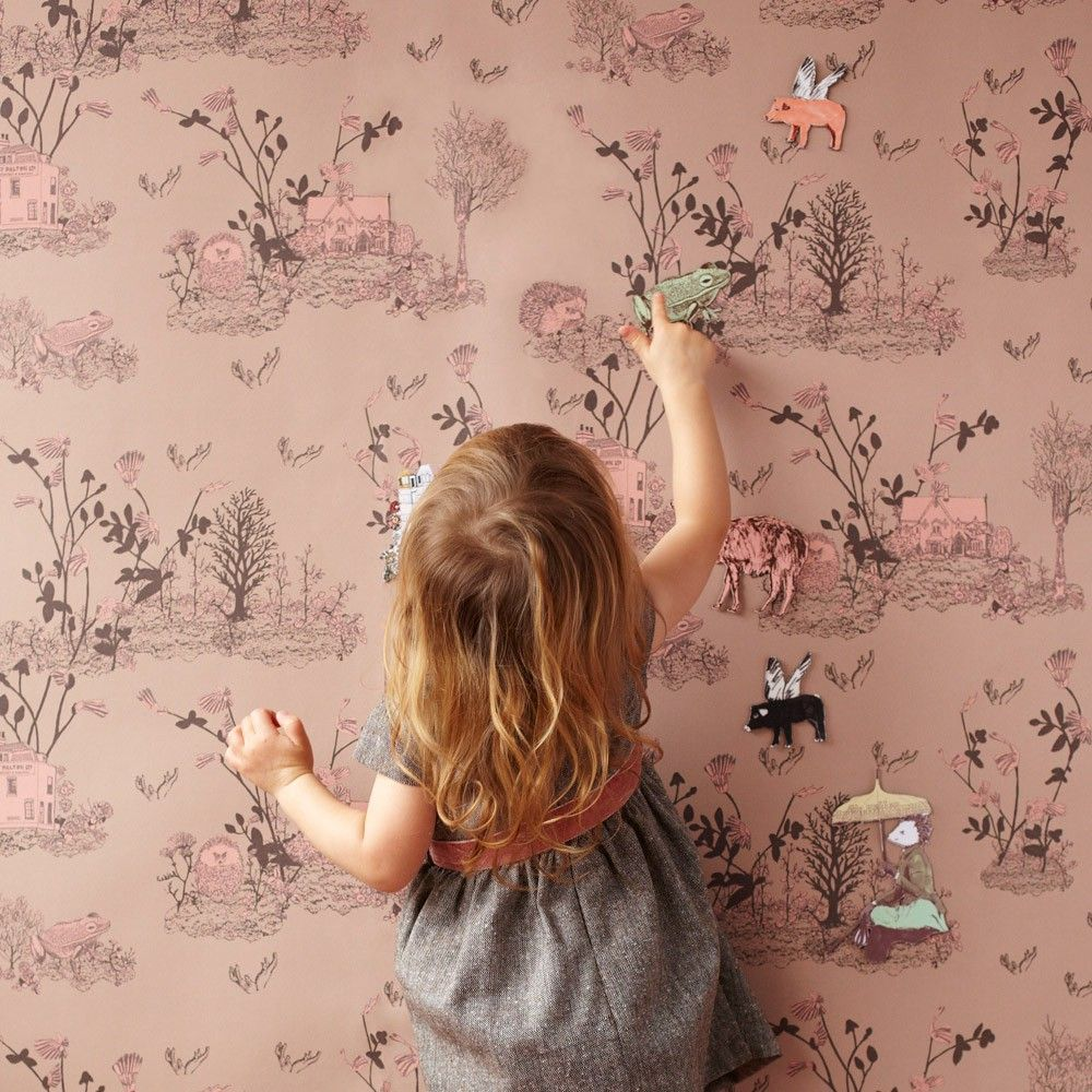 Papier Peint Magnetique Woodland Et Aimants Rose Poudre Rose Pou