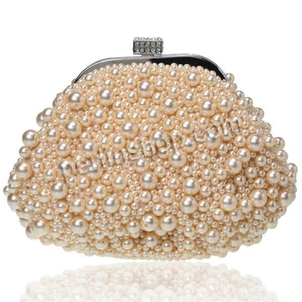 Braut Handtasche, Zinklegierung, mit Glasperlen, mit hängenden Kette Gurt befestigt & mit Strass, hellbeige, frei von Nickel, Blei & Kadmium...