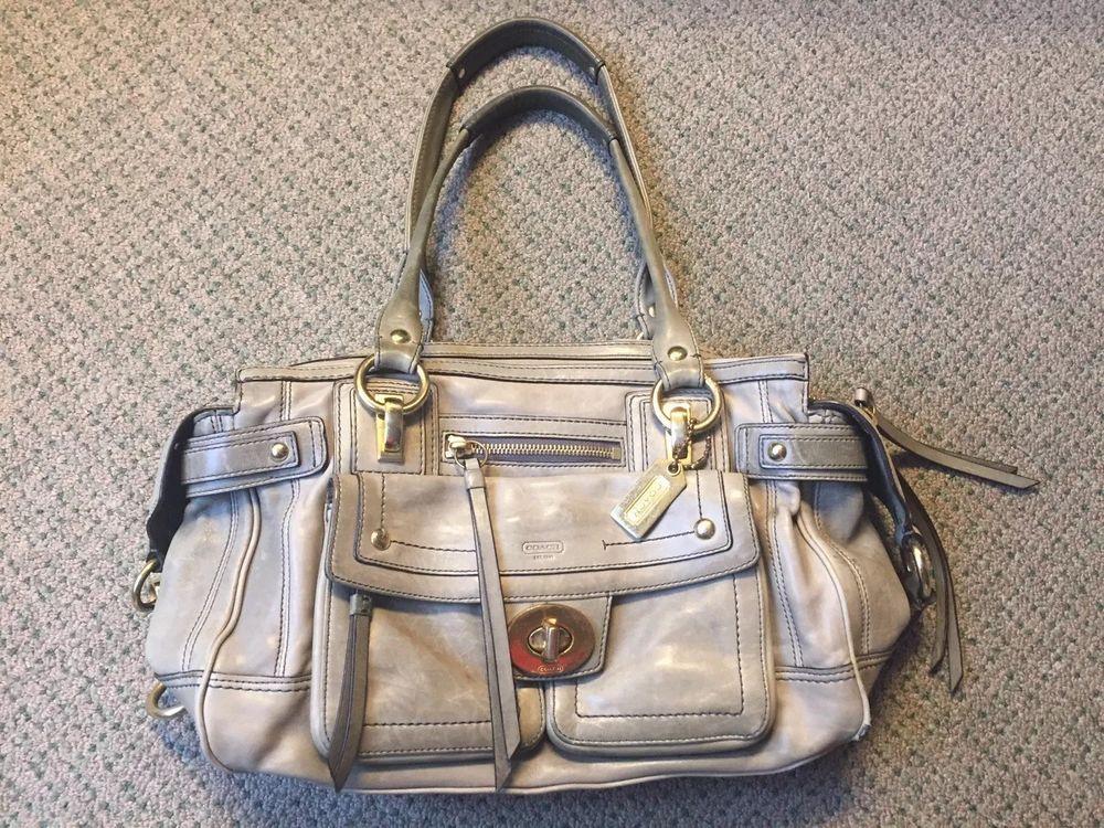 2ed61c8e81 Legacy Coach Hampton Lindsay Leather Mineral Green Satchel Handbag  12475 - Green  Handbag - Green