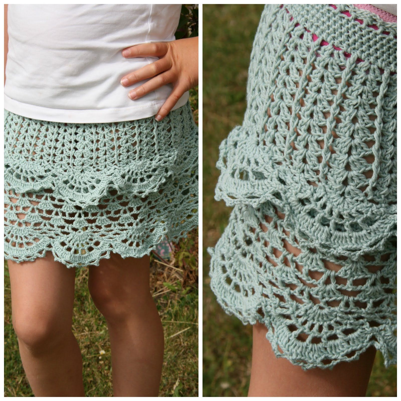 Fru Madsens nørklerier: Hæklet nederdel.. | hæklet tøj | Pinterest