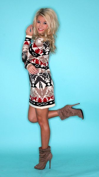 Women's Brown Fair Isle Sweater Dress, Brown Suede Ankle Boots ...