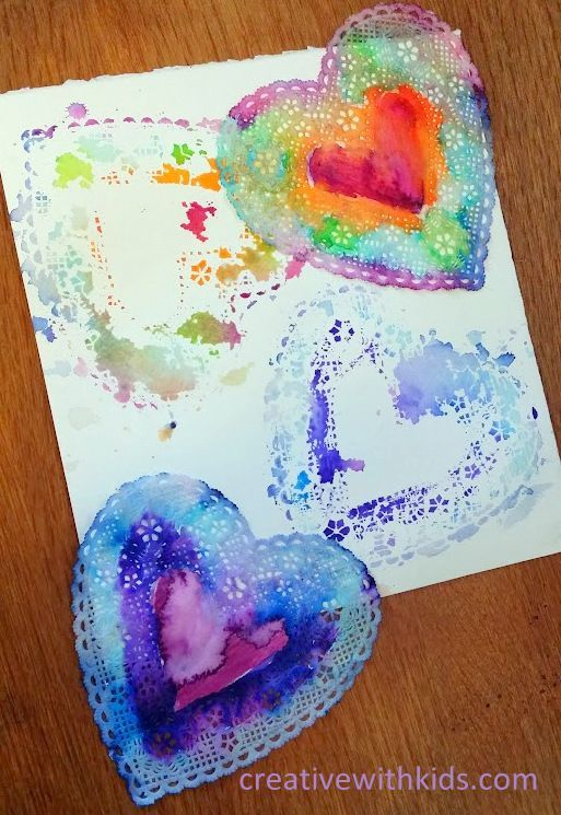 Easy Valentine Craft Watercolor Marker Heart Doilies Easy