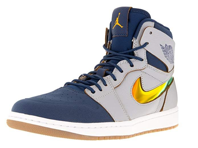 new style 083f7 22bc6 Nike Jordan Mens Air Jordan 1 Retro High Nouv Wlf Grey Gld Lf Frnch  Bl White Basketball Shoe 11 Men US