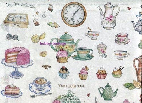 Decoupage Reispaper Time for tea