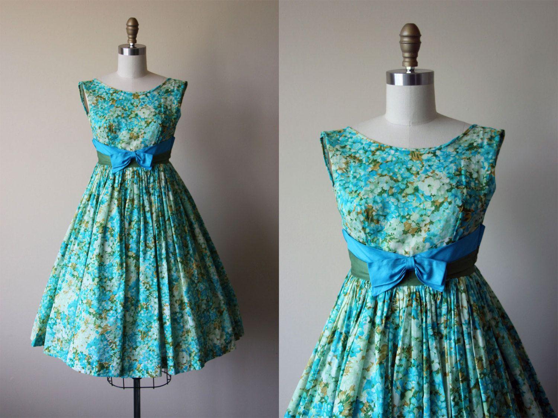1950s Dress - Vintage 50s Dress - Aqua Cotton Full Skirt Garden ...