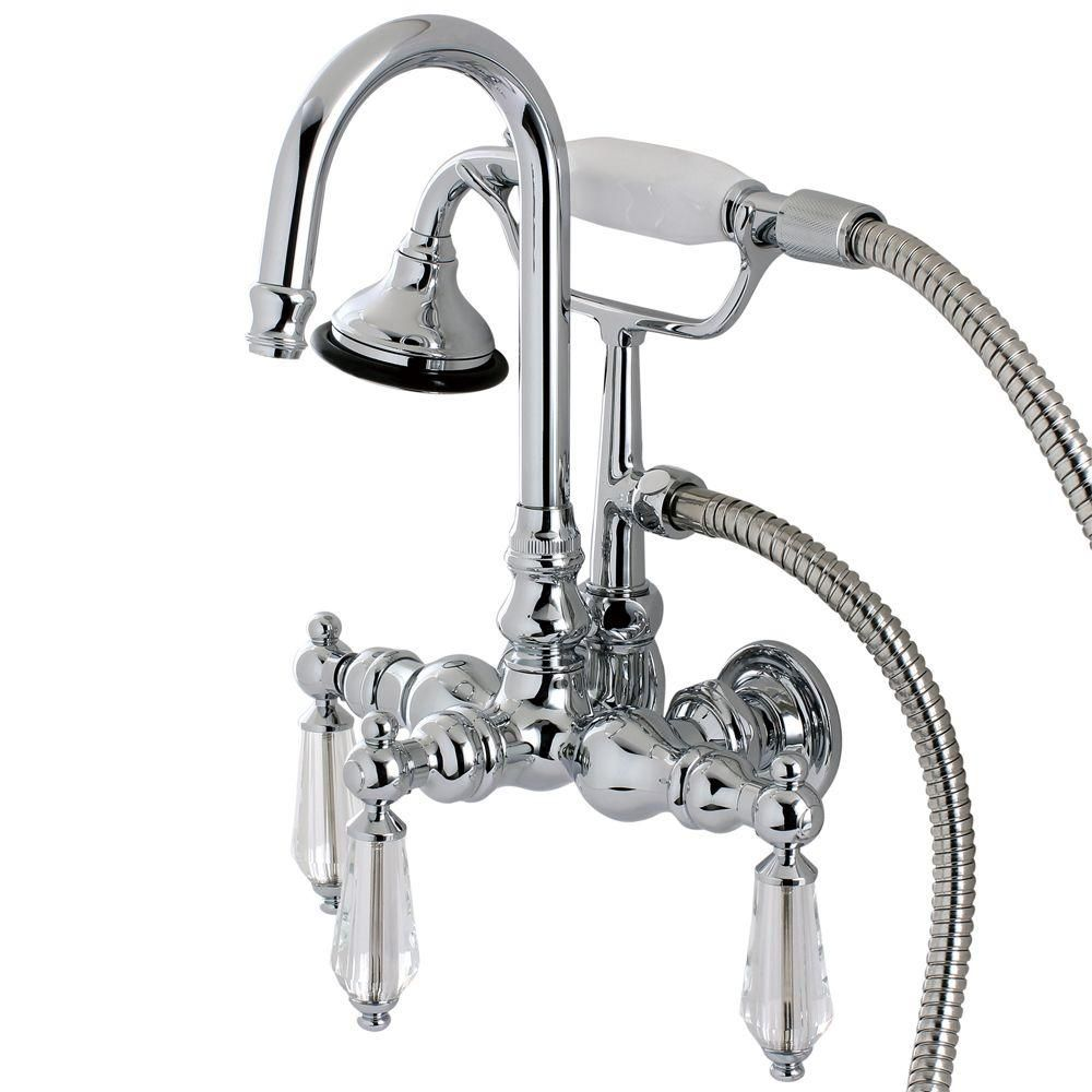 Aqua Eden Crystal 3 Handle Claw Foot Tub Faucet With Handshower In