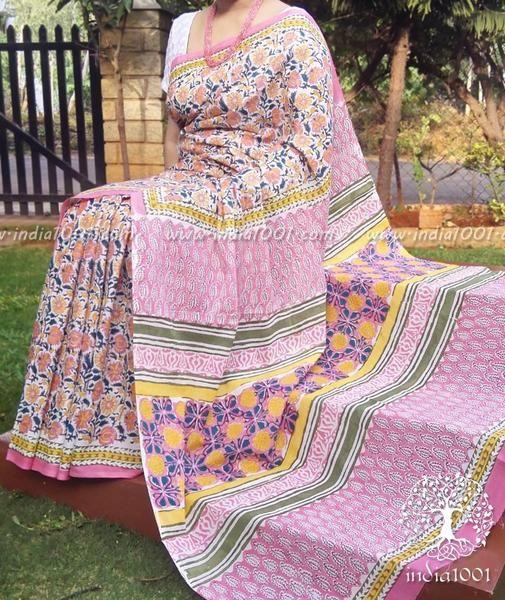 Beautiful Hand Block Printed Cotton Saree