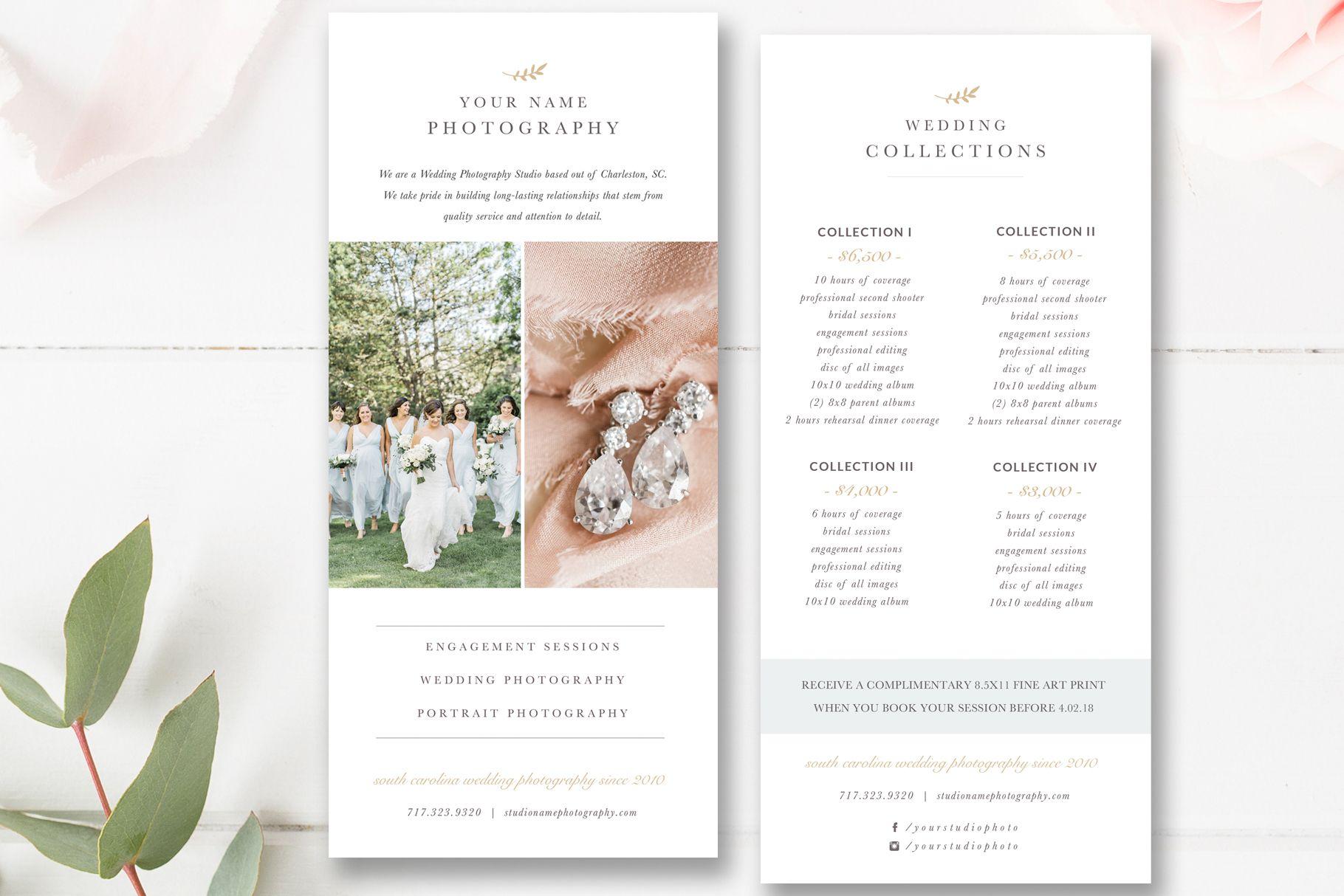 Wedding Photographer Rack Card Template Photoshop Template