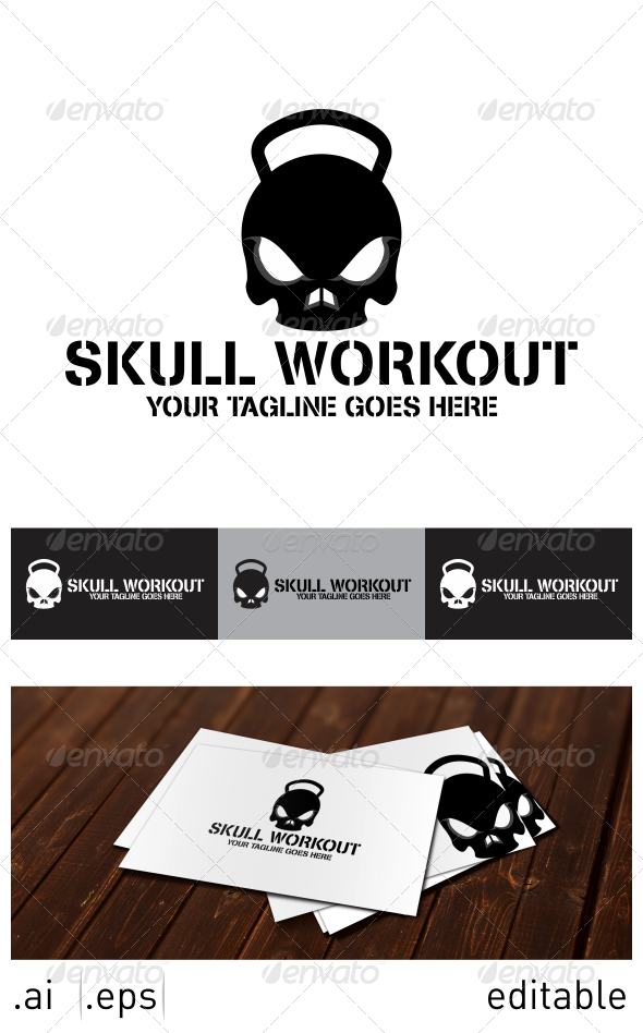 skull workout logo design template vector logotype download it here http