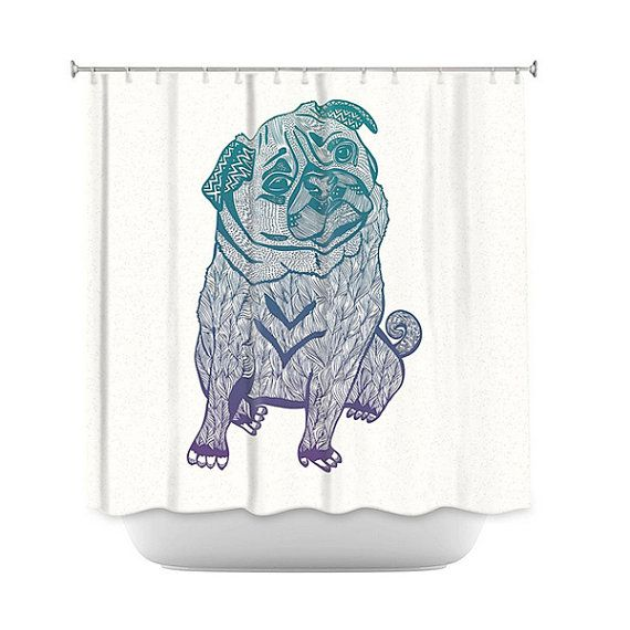 Duotone Pug Shower Curtain For Your Home Decor Curtains Pugs