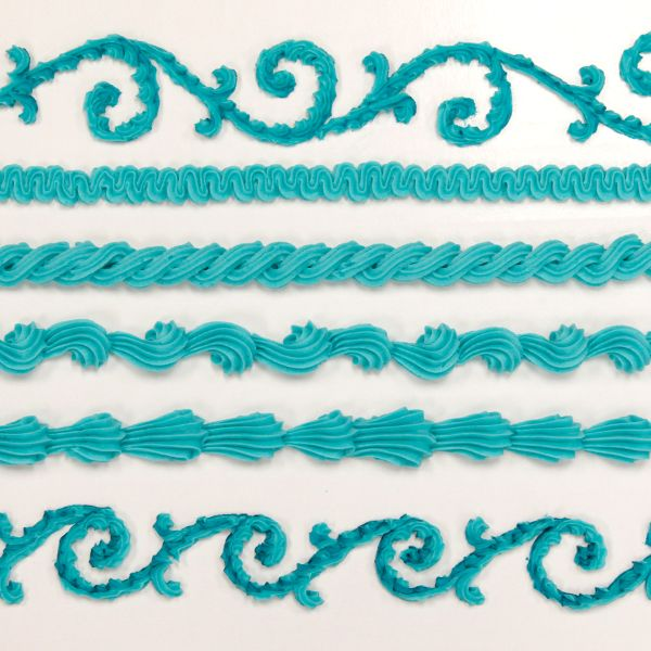 Cake Decorating Piping Techniques How To Make A Plume Border : Star tip border chart-Global Sugar Art.com Cakes-Icing ...