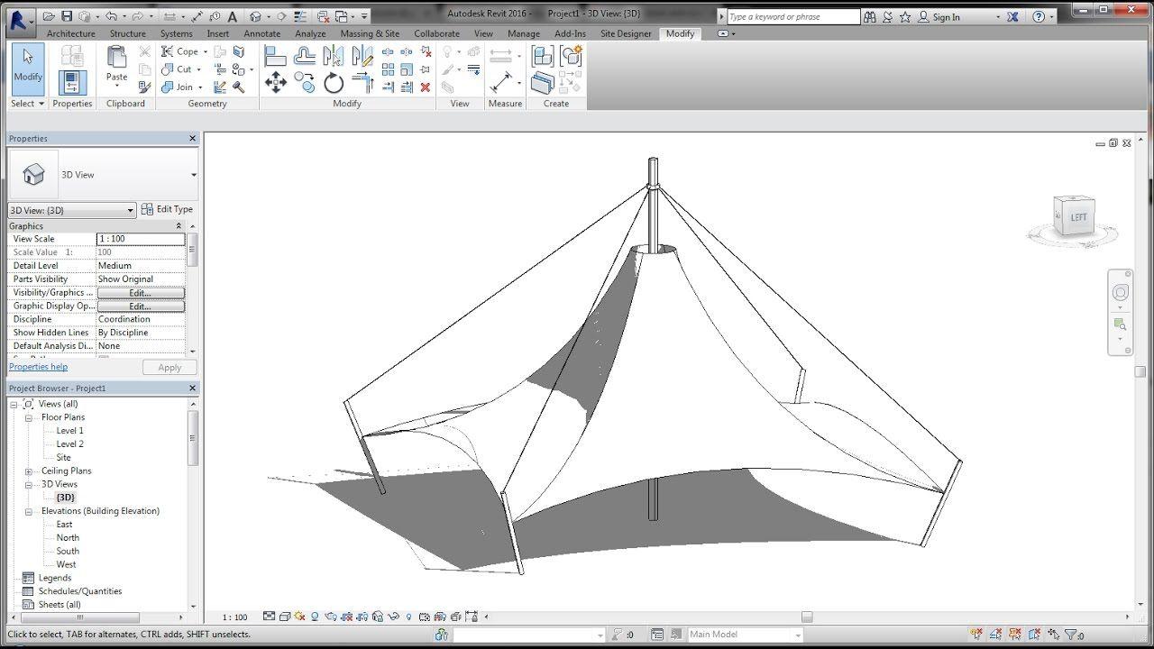 BIM - Revit Adaptive Component 04A Modeling Tensile Fabric
