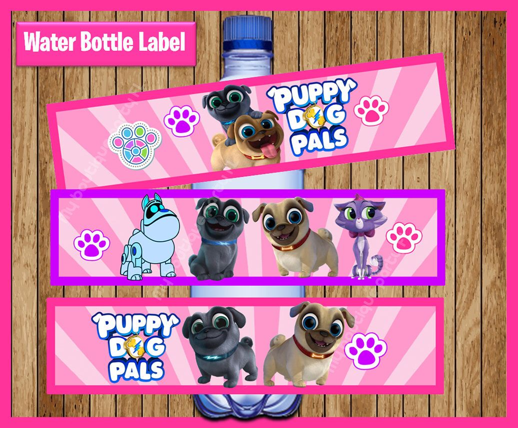 Puppy Dog Pals Water Bottle Label Instant Download Printable Puppy
