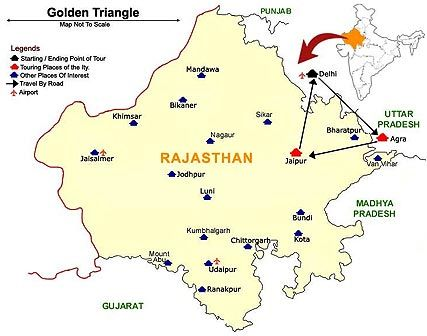 Golden Triangle Map With Rajasthan Travel India In 2019