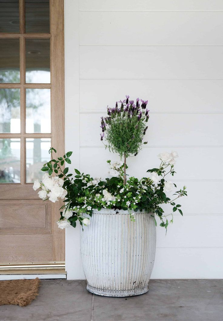 Create a beautiful flower pot with this small flower inspiration to decorate your porch this summer! #porchplanters #porchdesign #smallflowerplants #boxwoodplanters