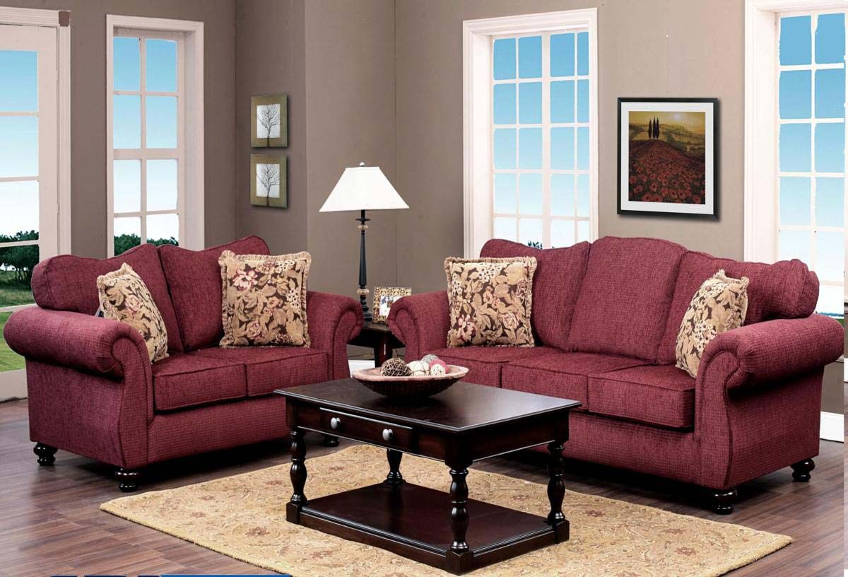 Chelsea Home Ruthie Sofa Set - Delray Burgundy - Chelsea in ...