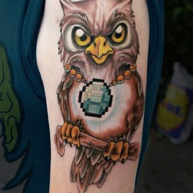 'Scary cute' Owl tattoo