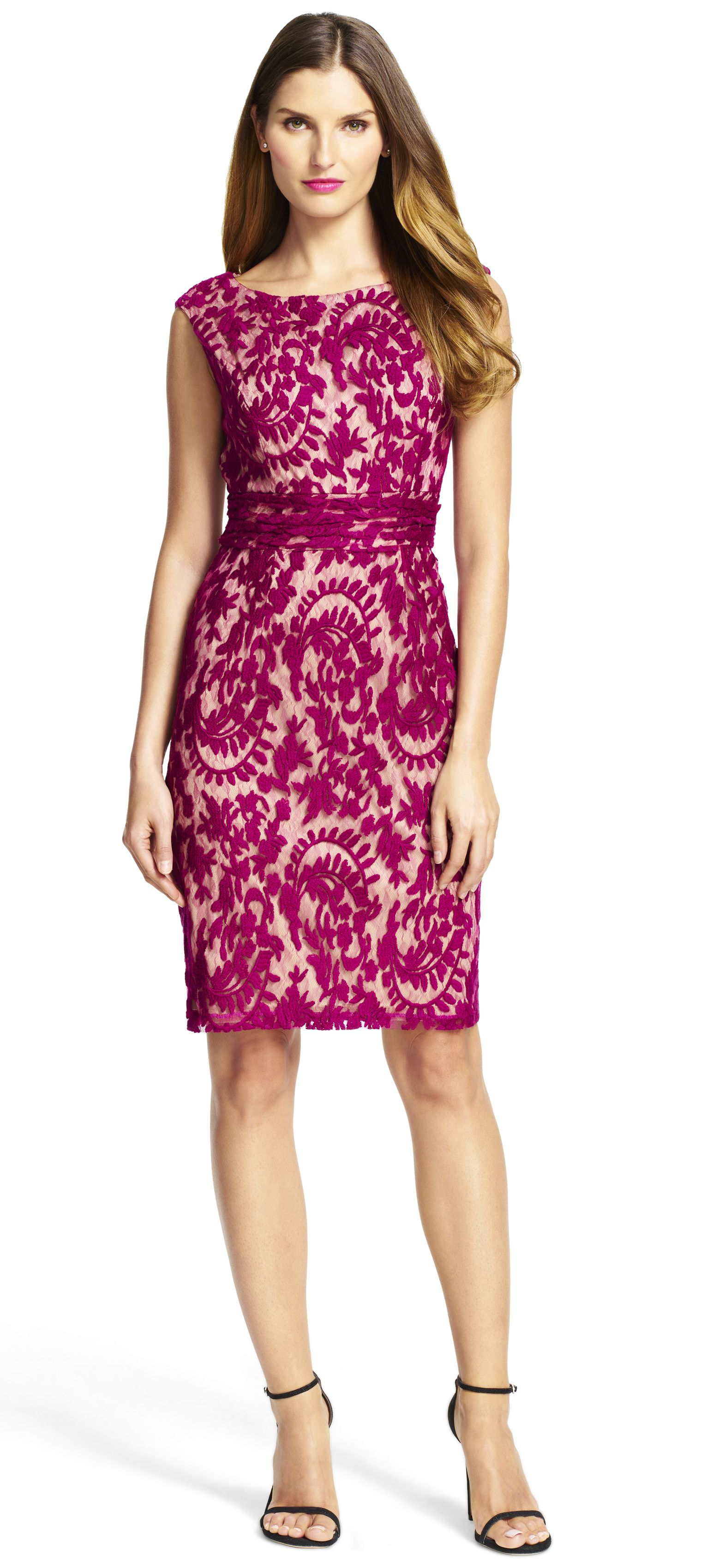 Adrianna Papell-Lace Sheath Dress with Nude Lining | Cute dresses ...
