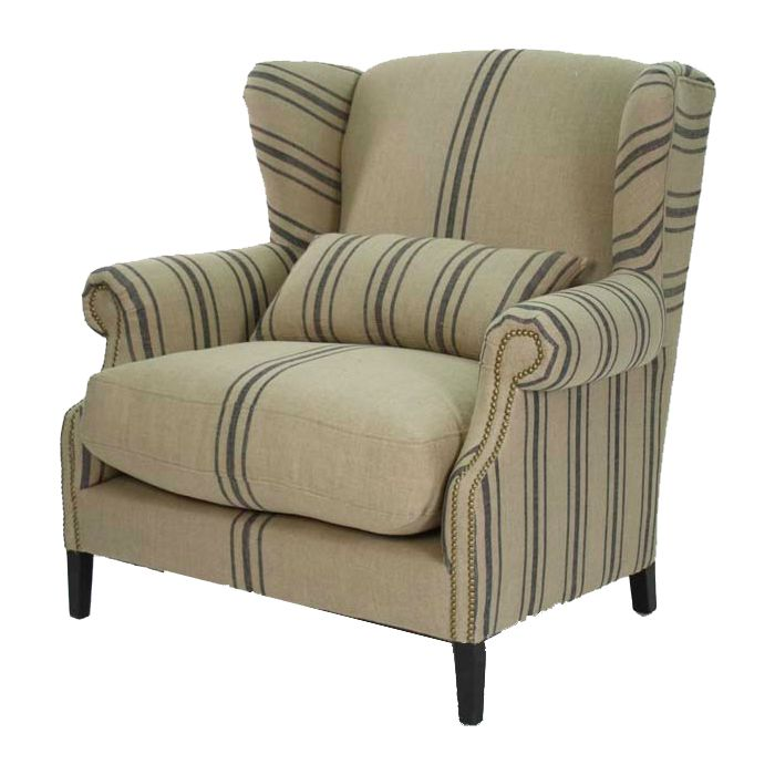 Navy Striped Half Wingback Chair - Belle Maison