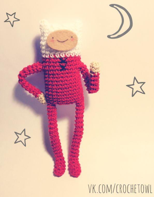 Crochet Finn in his pajamas!^^ Adventure Time; Crochet Finn the human by Vinogradova Alexandra.
