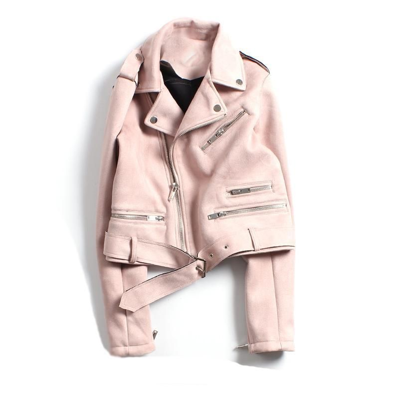 88b57a83ab9e CLICK on the photo TO SHOP this beautiful pink jacket  ) New pink faux  suede motorcycle women jacket moto zipper biker spring summer 2019 ladies  cozy casual ...