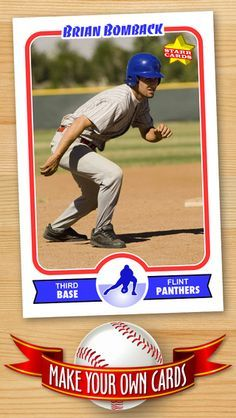 Free Baseball Card Template Create Personalized Sports Cards Complete With Baseball Quotes Cart Baseball Card Template Baseball Cards Baseball Trading Cards