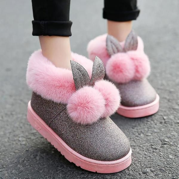 Lovely rabbit ears soft cotton warm women winter home boots in 2019 ... a9d170b4c907