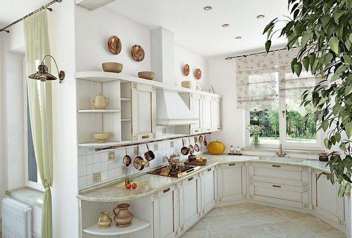 Meble kuchenne białe - Kuchnia prowansalska