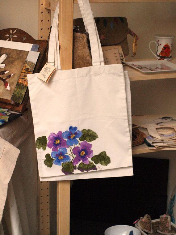 Bolsa de algod n pintada a mano por caprichosdeleyre en - Bolsas para pintar ...