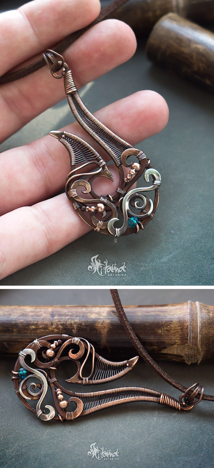 Copper and sterling silver wire wrapped tribal hook necklace wire copper and sterling silver wire wrapped tribal hook necklace copper jewelry wire wrap wire wrapped jewelry tribal jewelry aloadofball Images