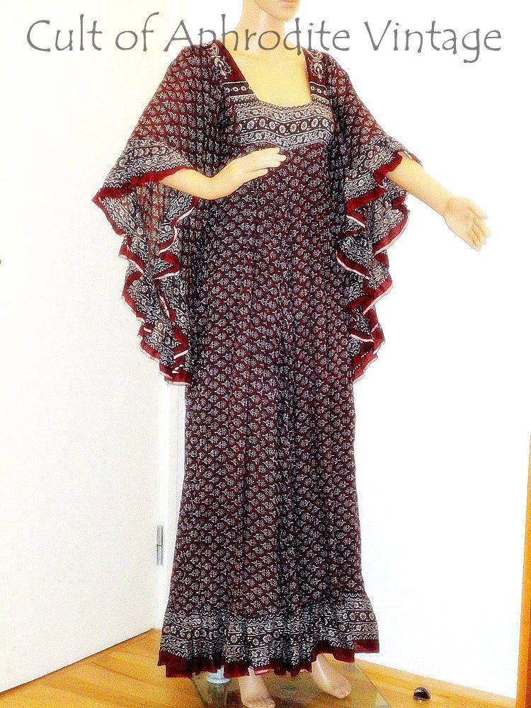 575fd06377 Vintage 70s Indian Ethnic Floral Pattern Ruffled Angel Sleeves Cotton  Hippie Boho Caftan Maxi DRESS Shades