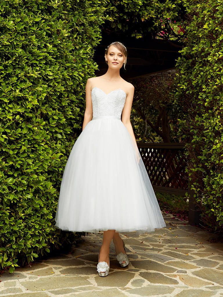 0aadfffe134c Strapless Sweetheart Corset Wedding Dress Bodice with A-Line Tea Length  Skirt | Simply Val