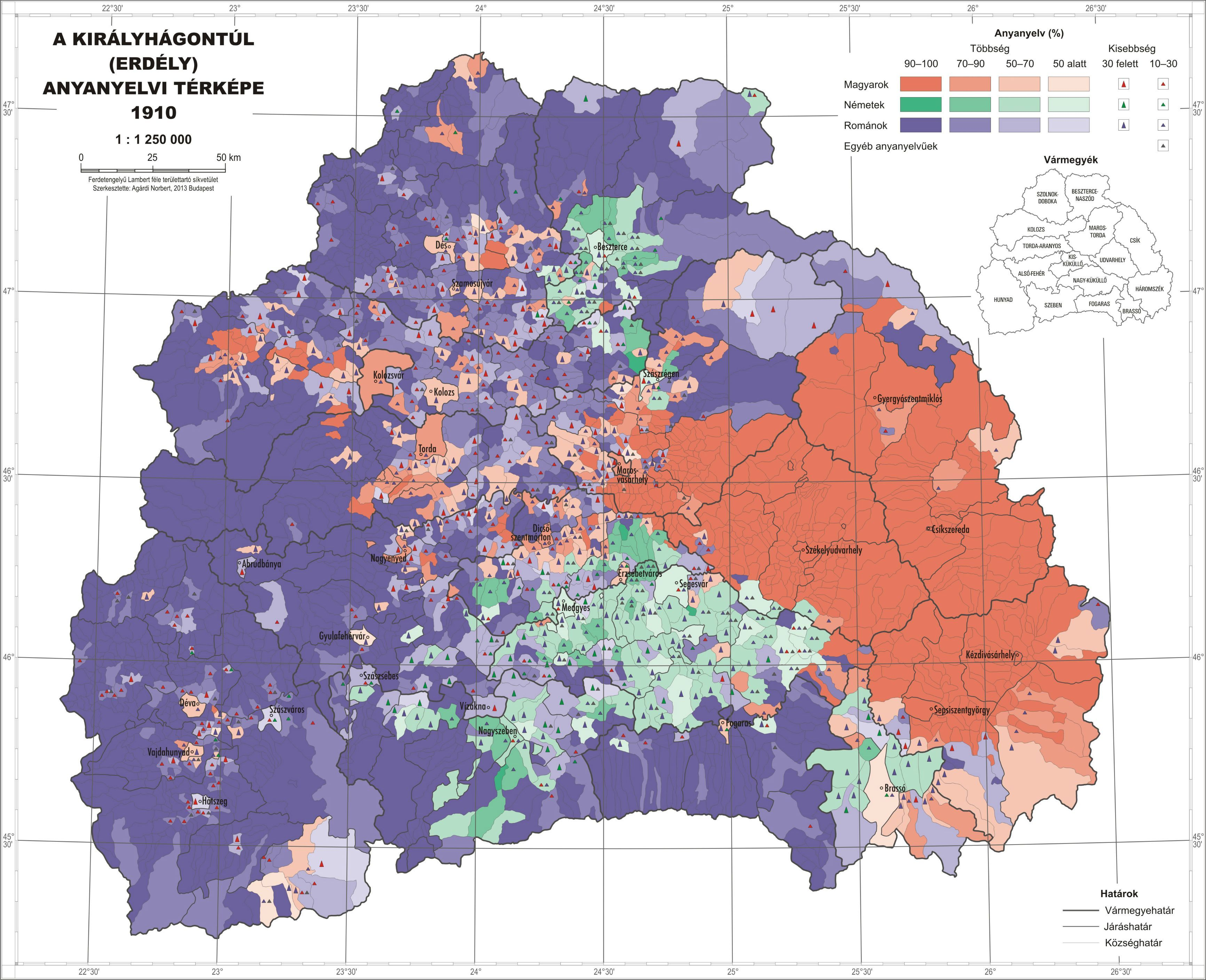 Linguistic Composition Of Transylvania By Municipality 1910 3465