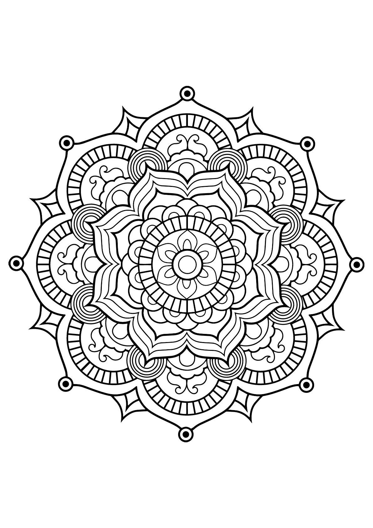 Mandala with vegetal patterns from Free Coloring book for
