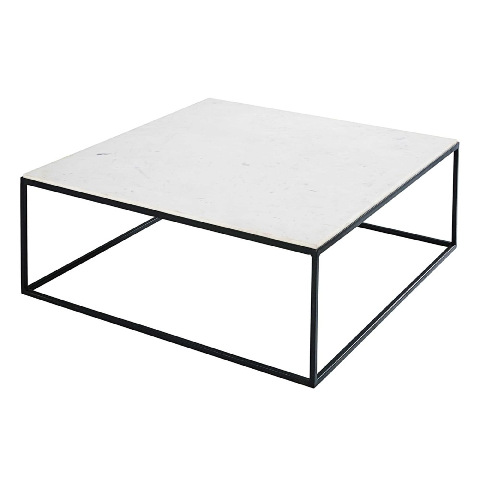 Table Basse Carree En Marbre Blanc Et Metal Noir Maisons Du Monde Table Basse Carree Table Basse Table Basse Marbre