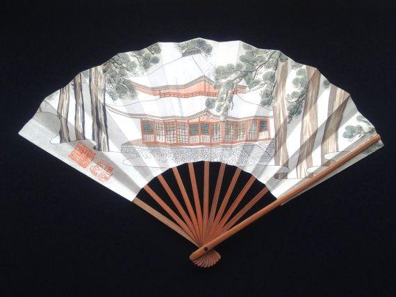 Japanese Hand Fan Vintage Paper Fan Sensu F19 Amida Hall in Enryaku-ji Temple Monastery in Otsu, Shiga, Japan by VintageFromJapan, $9.50 #fan #art #Japan #JPN #shopping #vintage #summer